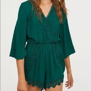 H&M Green Lace Jumpsuit - Size 0